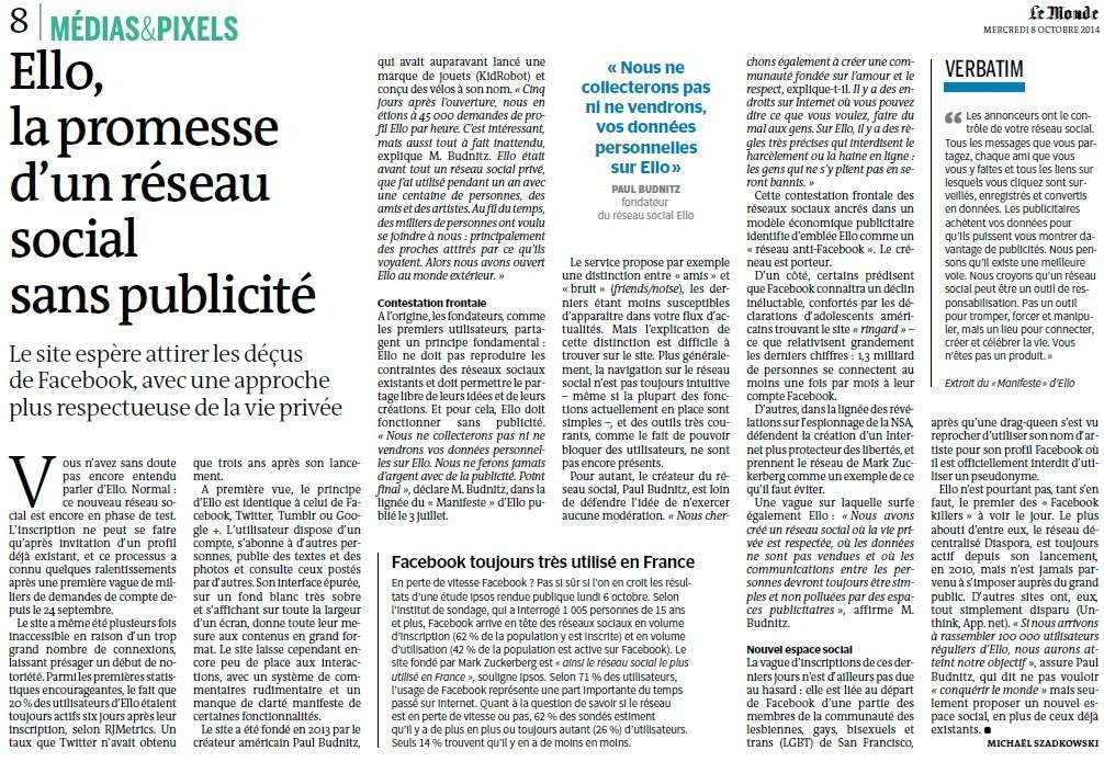 Ello, la promesse d'un réseau social sans publicité (Le Monde) + Ello my new friend (Les Inrockuptibles) Ello10