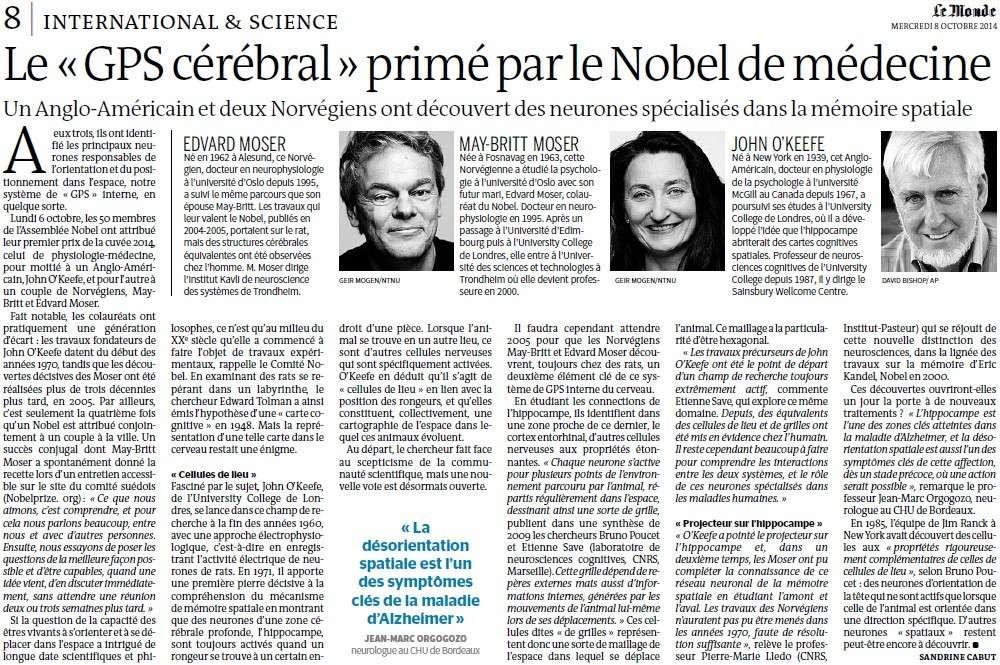 """Le """" GPS cérébral """" primé par le Nobel de médecine (Le Monde) Gps_cy10"""