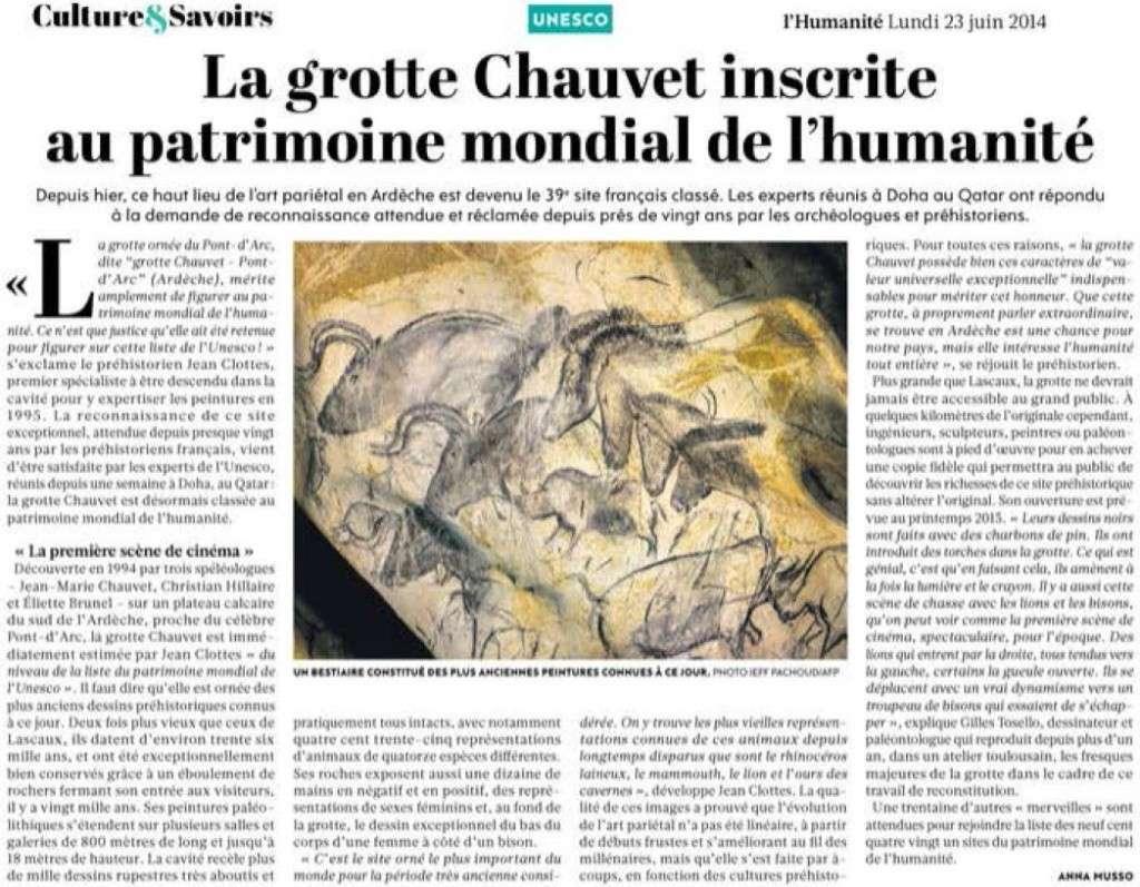 La grotte Chauvet inscrite au patrimoine de l'humanité (Humanité) Grotte10