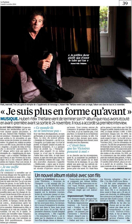 """Hubert-Félix Thiéfaine : """" Je suis plus en forme qu'avant """" (Parisien) H-f_t10"""