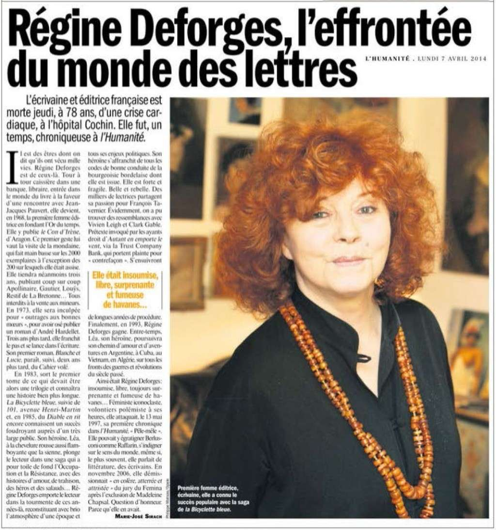 Régine Deforges (Le Monde) + L'effrontée du monde des Lettres (Humanité) L_effr10