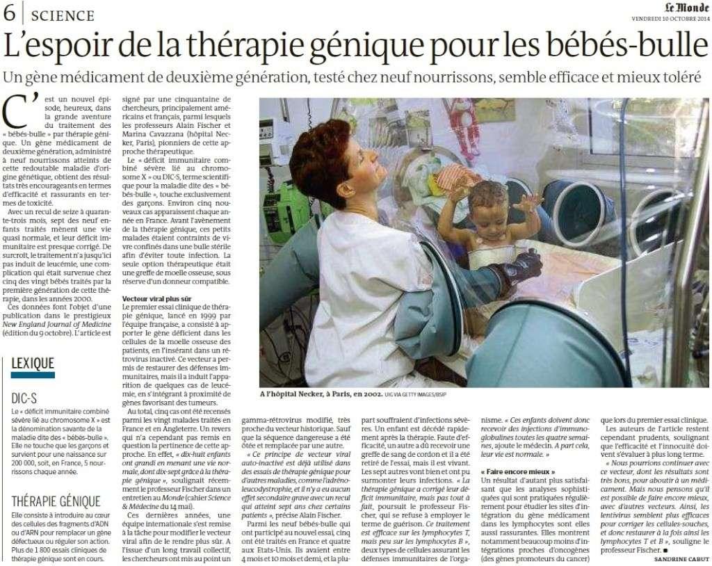 L'espoir de la thérapie génique pour les bébés-bulle (Le Monde) L_espo10