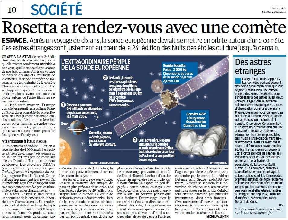 Rosetta a rendez-vous avec une comète (Parisien) Rosett10