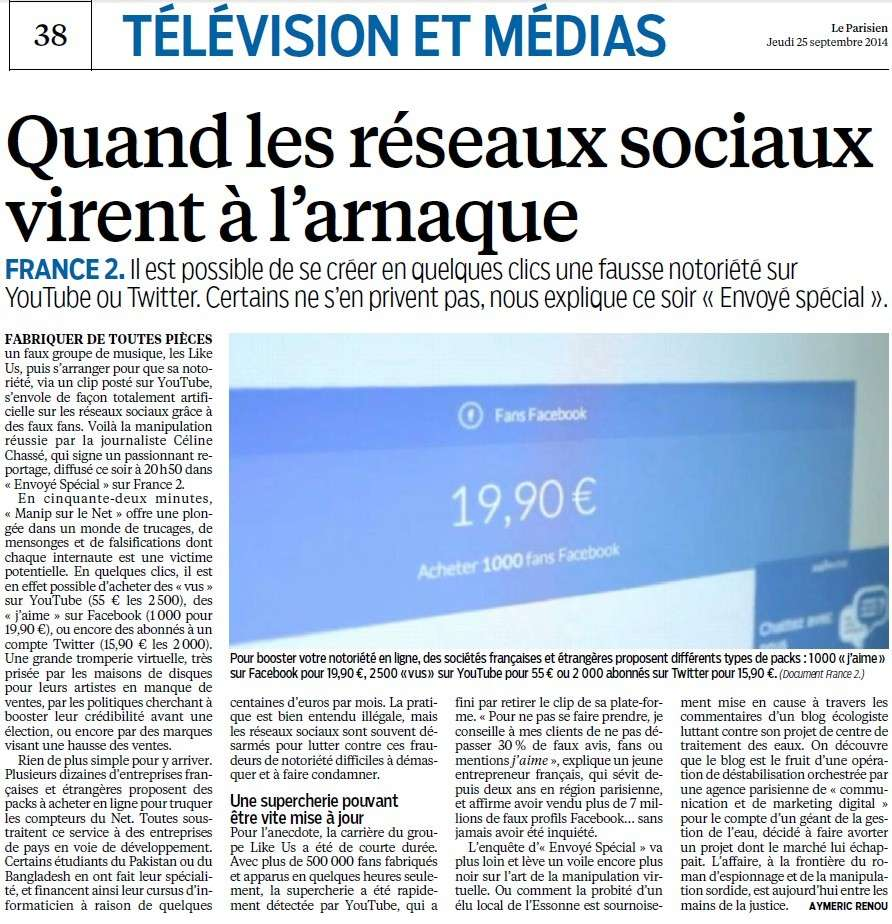 Quand les réseaux sociaux virent à l'arnaque (Parisien) Ryseau10