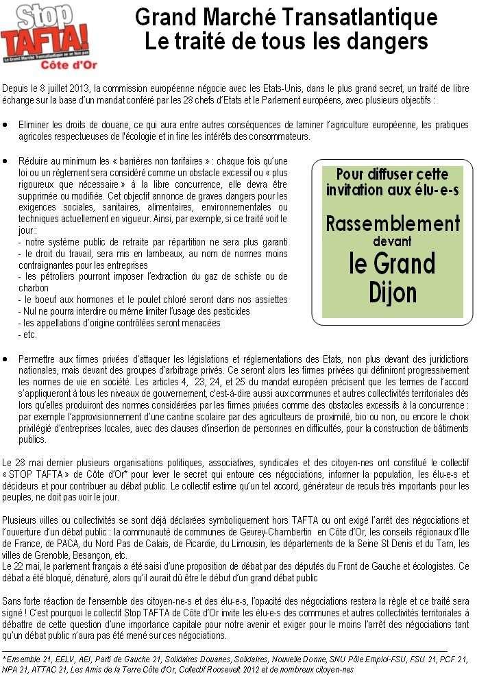 """Quetigny. 16 mai. Réunion publique : Non au Grand Marché Transatlantique ! (Front de Gauche) + Tafta : """" Si cet accord secret est mis en lumière par les médias, il disparaîtra """" (Le Miroir)  Tafta_10"""