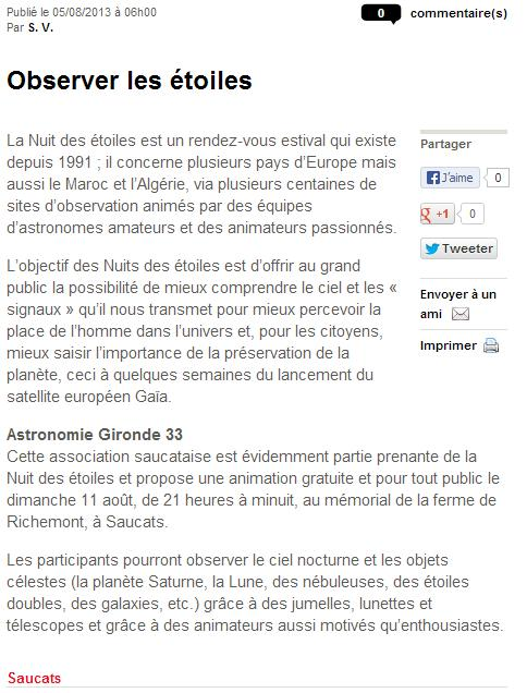 Nuit des Etoiles dimanche 11 août 2013 à Saucats Sud_ou10