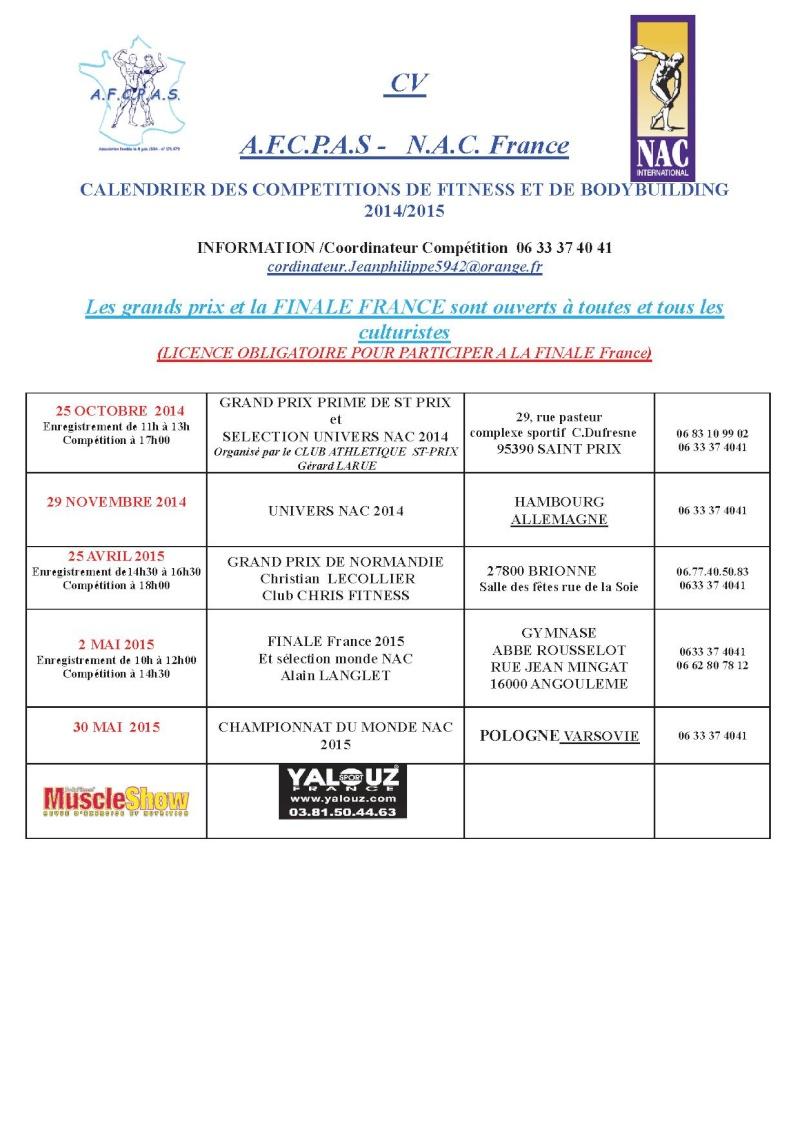 CALENDRIER AFCPAS  2014 /2015 Calend10