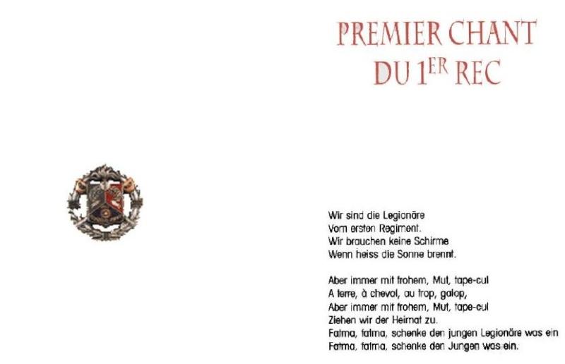 PREMIER CHANT DU 1  REC LEGION ETRANGERE A2610