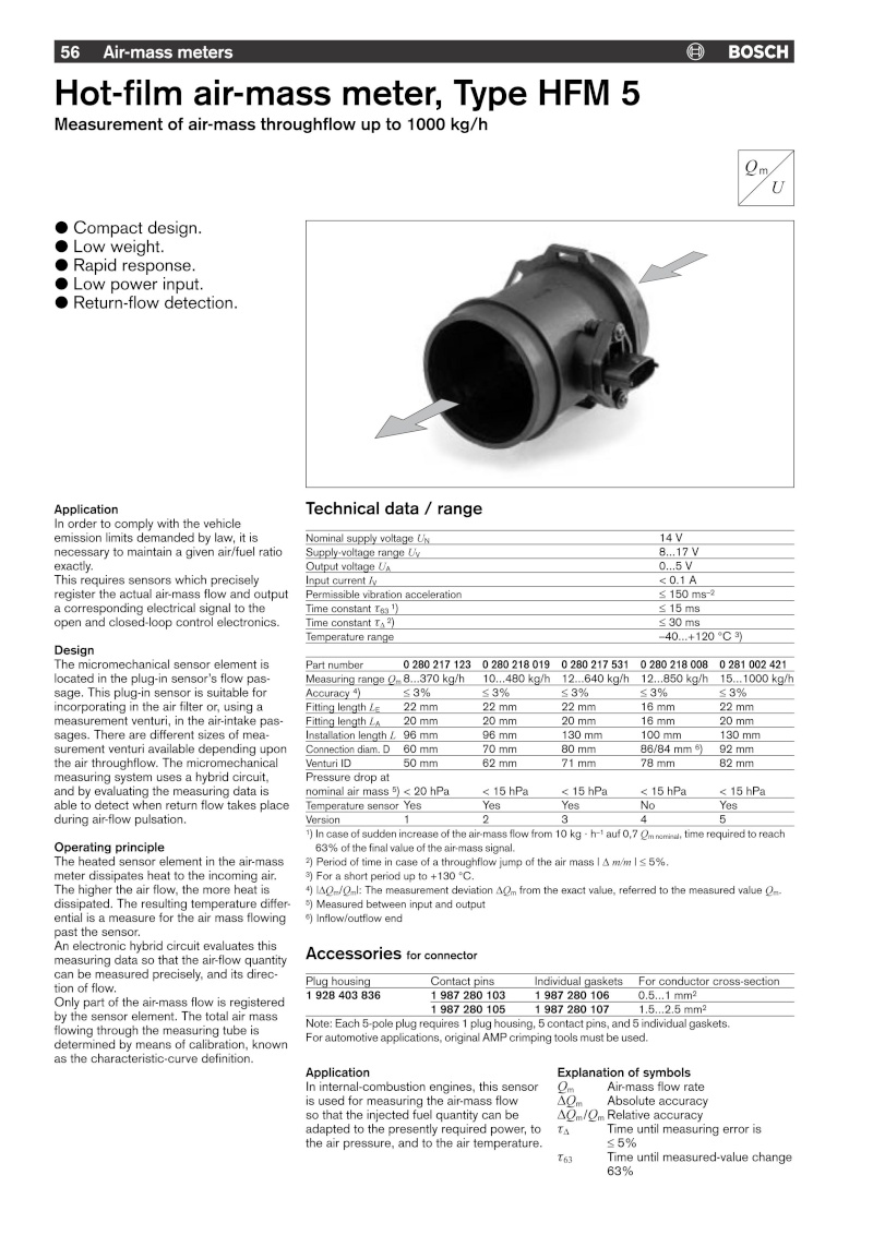 Datasheet débitmètre BOSCH HFM5  Chimae11