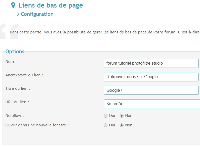 *RESOLU* Modifier le pied de page de mon forum Google10
