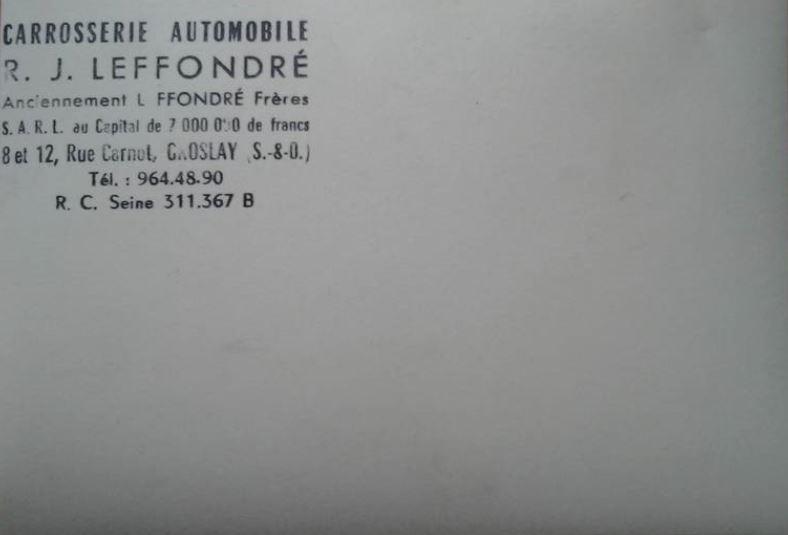 La Carrosserie LEFFONDRE Capt1948