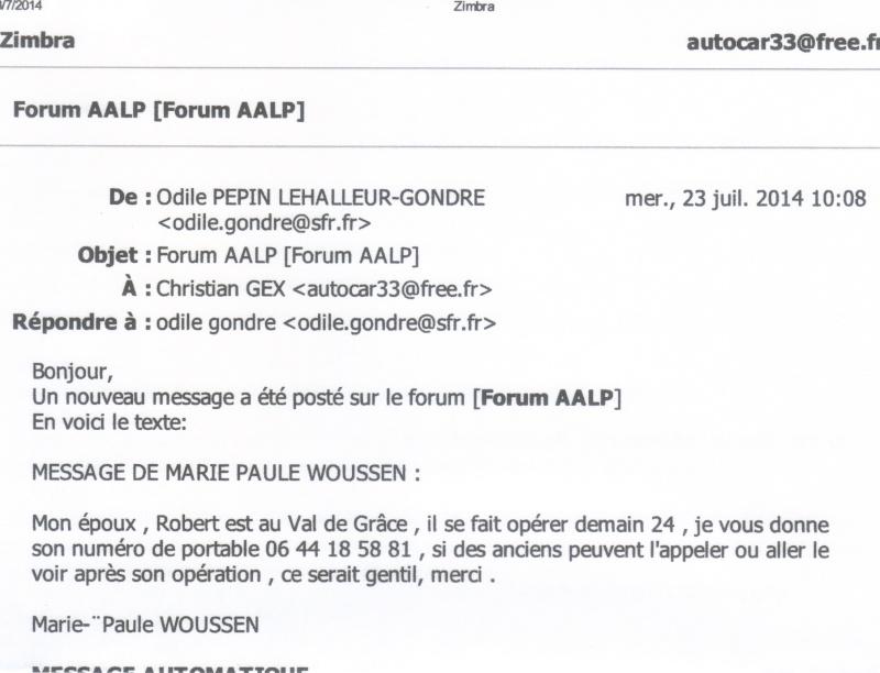message de Madame WOUSSEN 23-07-10