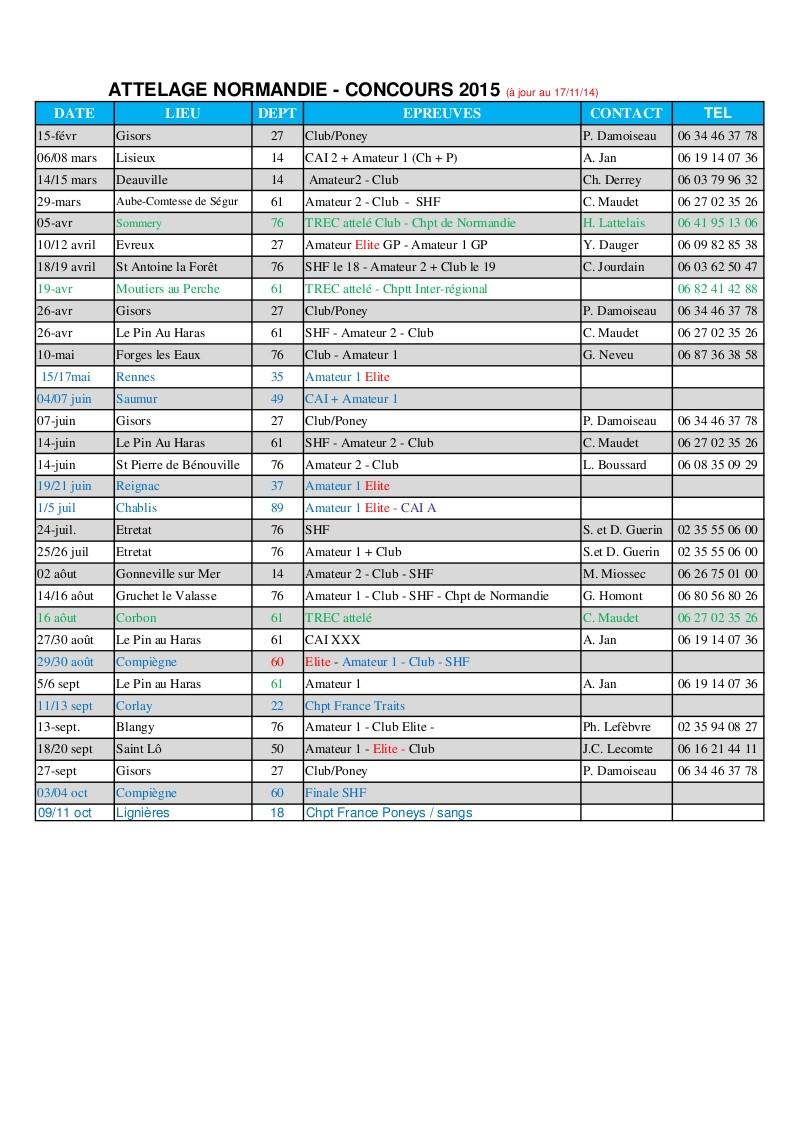 Calendrier des Concours d'attelage en 2015 (Normandie) Calend10