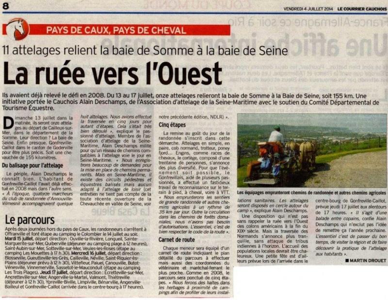 """13 au 17 juillet - Randonnée attelage """"Baie de Somme-> Baie de Seine !"""" Courri10"""