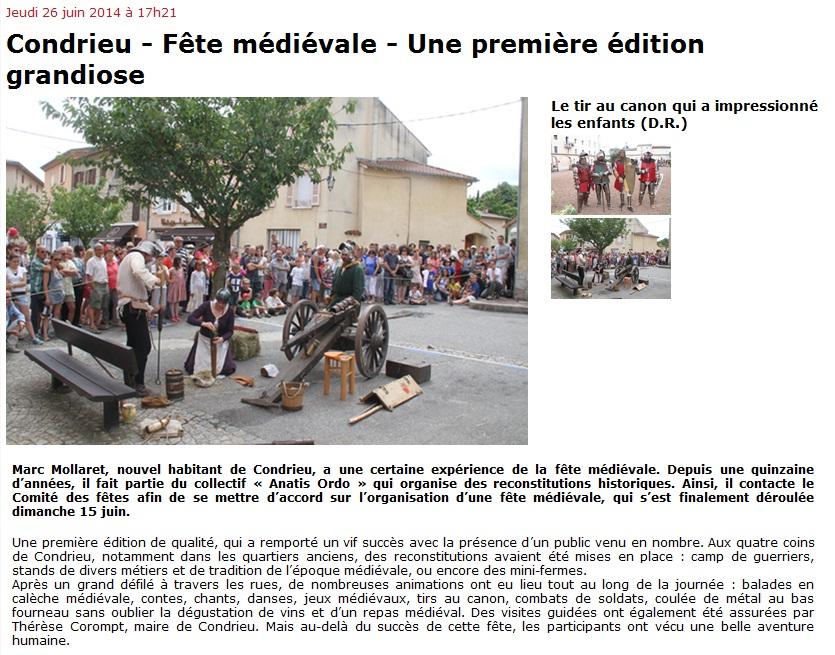 2014 fête médiévale de Condrieu La Tribune de Vienne Articl10