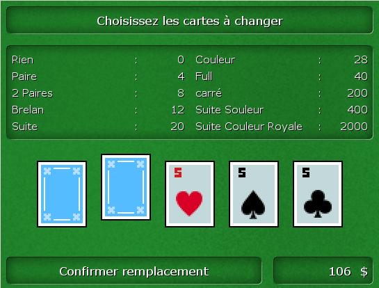 Mini-jeu de poker avec double chance Poker11
