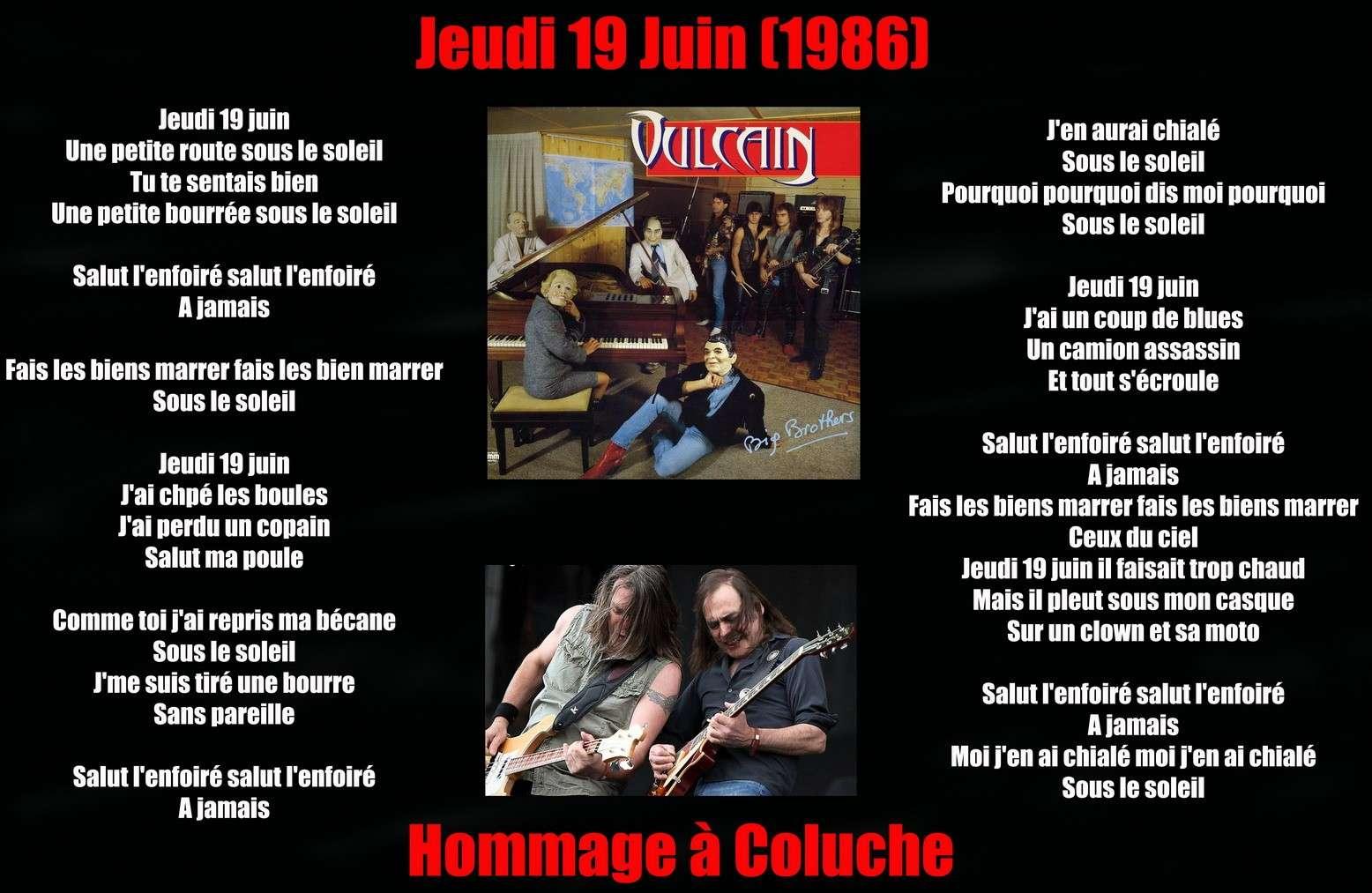 VULCAIN 19 juin (1986) Hommage à Coluche mort il y a 28 ans ce jour ... Vulcai23