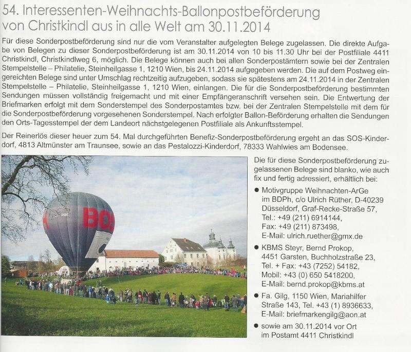 54. Interessenten -Weihnachts-Ballonpostbeförderung von Christkindl aus in alle Welt am 30.11.2014 54_int10