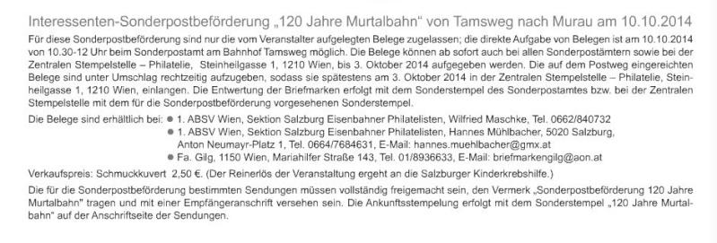 Sonderpostbeföderung 120 Jahre Murtalbahn 10.10.2014 Sonder10