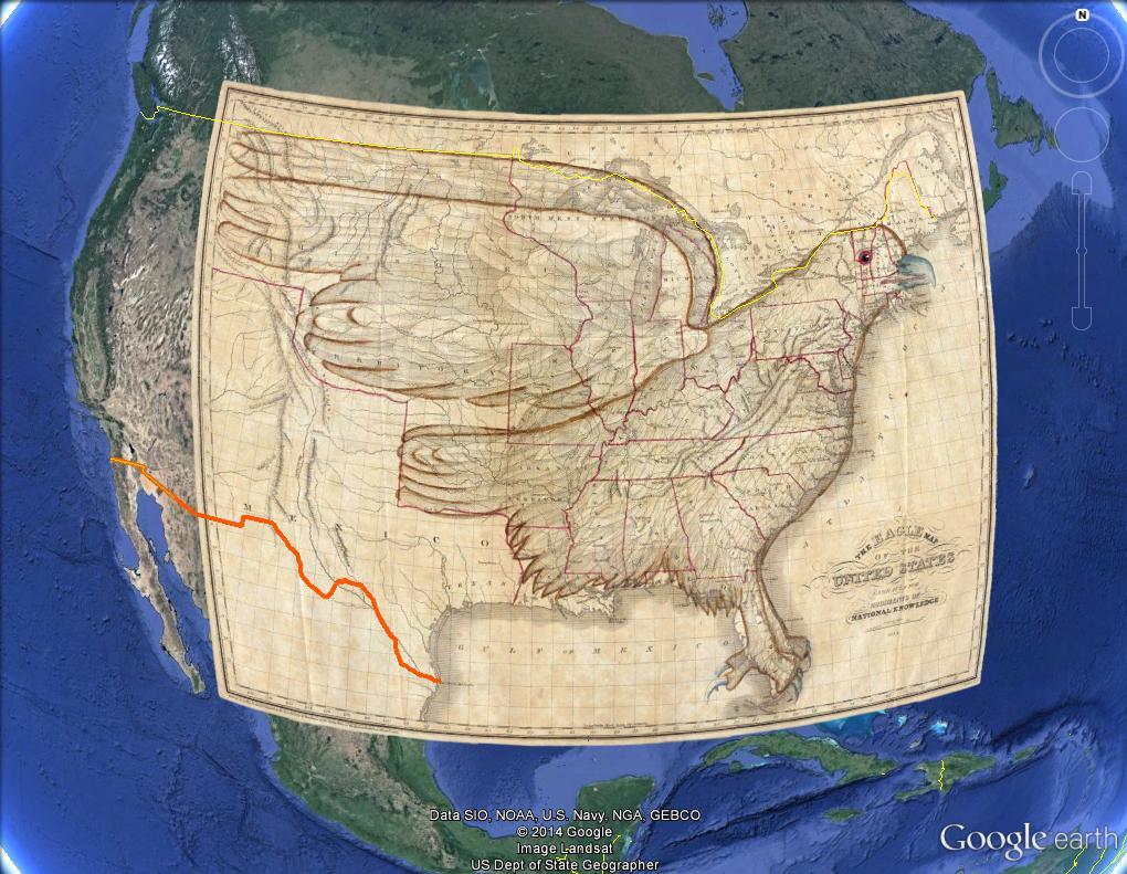 Des bonshommes et des animaux cachés dans les cartes Usa_1811