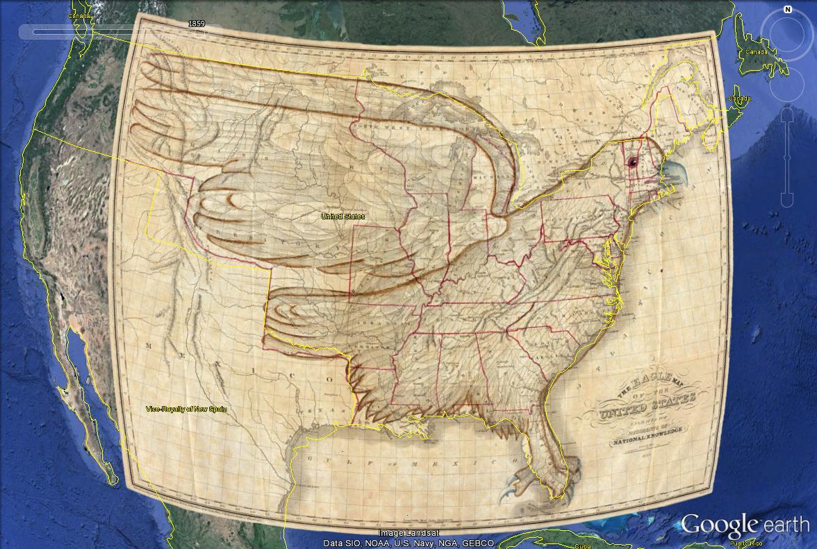Des bonshommes et des animaux cachés dans les cartes Usa_1910