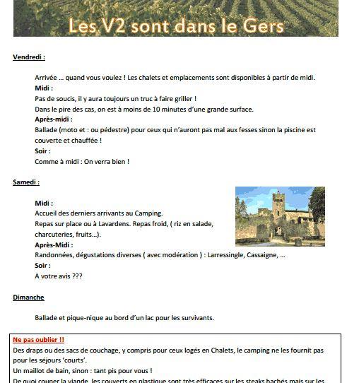 """inscriptions définitives (limite 5 avril ), détails,tarifs   période 15 juin rencontre V2 """"gers"""" V2gers10"""