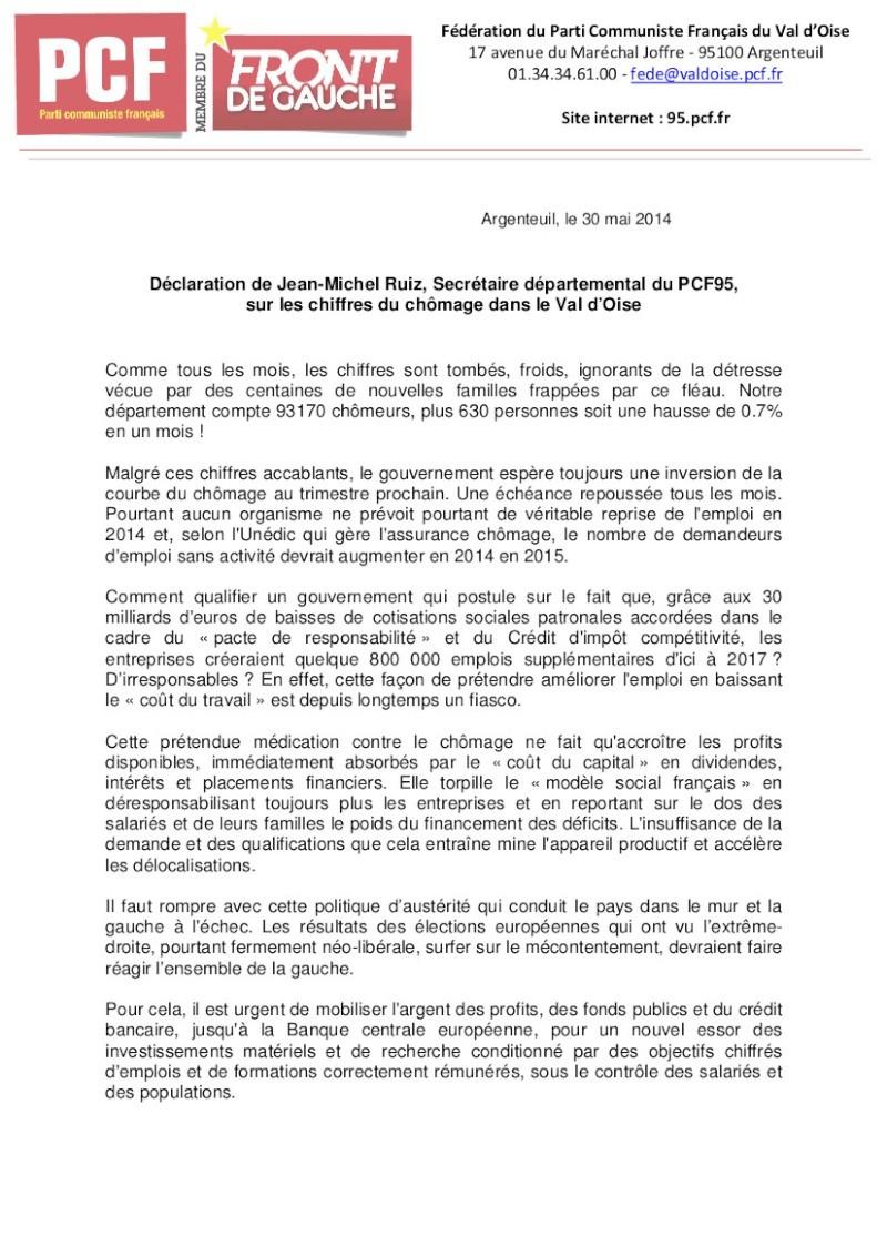 Communiqué du PCF 95 suite à l'annonce des chiffres du chômage dans le Val d'Oise. Daclar10