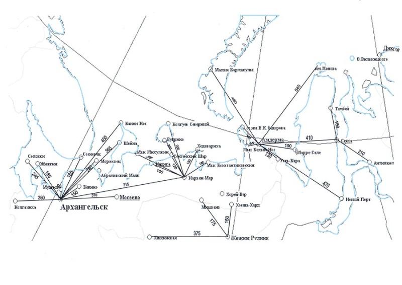 Арктика. Расположение метеостанций. Arh_2810