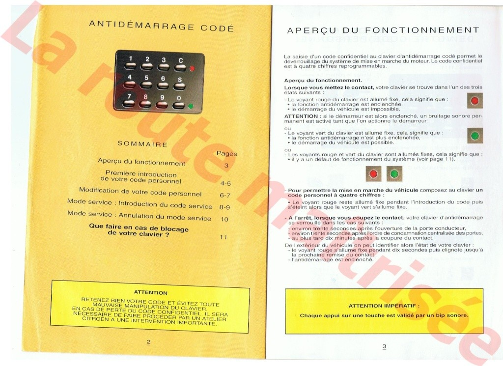 Antidémarrage codé (Mars 1996) 00224
