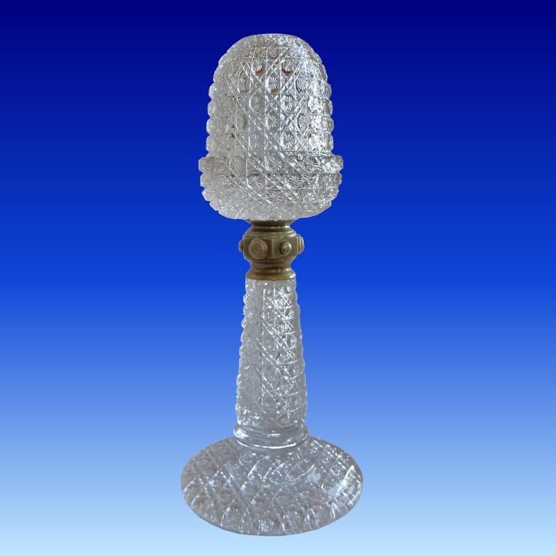 Rare Samuel Clarke Pedestal Fairy Lamp - Cane pattern Selway10