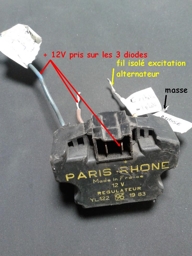 adaptation régulateur d'alternateur automobile sur moto 12V 1010