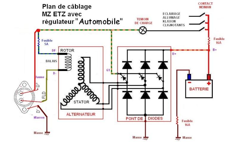 adaptation régulateur d'alternateur automobile sur moto 12V Cablag10