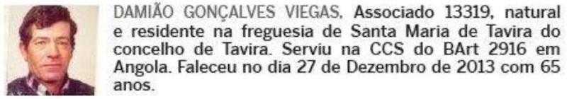 Notas de óbito: Veteranos da Guerra do Ultramar, publicadas no jornal ELO, da ADFA, de Julho de 2014 01dami10