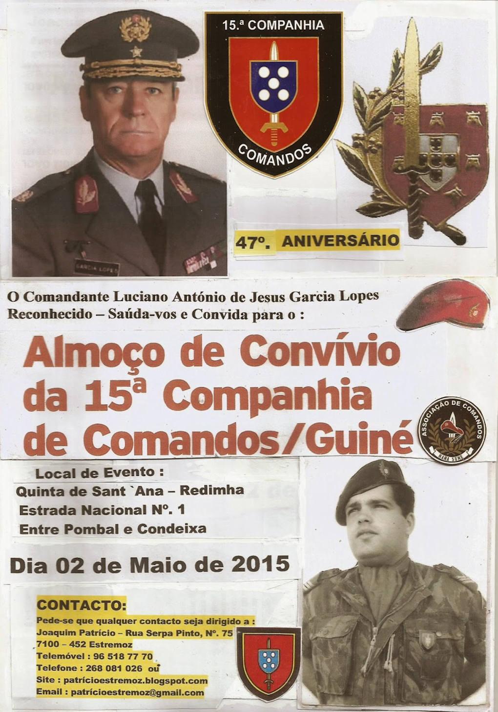 Almoço Convívio e Comemoração do 47.º Aniversário da 15.ª Companhia de Comandos - 02Mai2015 02_15c10