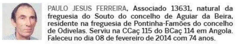 Notas de óbito: Veteranos da Guerra do Ultramar, publicadas no jornal ELO, da ADFA, de Julho de 2014 02paul11