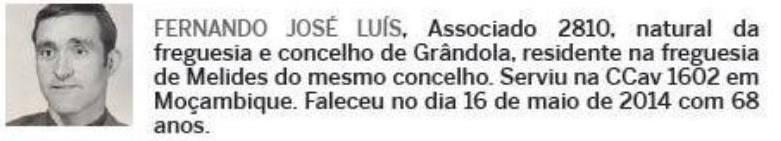 Notas de óbito: Veteranos da Guerra do Ultramar, publicadas no jornal ELO, da ADFA, de Julho de 2014 08fern10