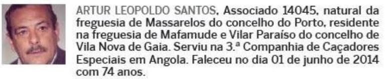 Notas de óbito: Veteranos da Guerra do Ultramar, publicadas no jornal ELO, da ADFA, de Julho de 2014 10artu10