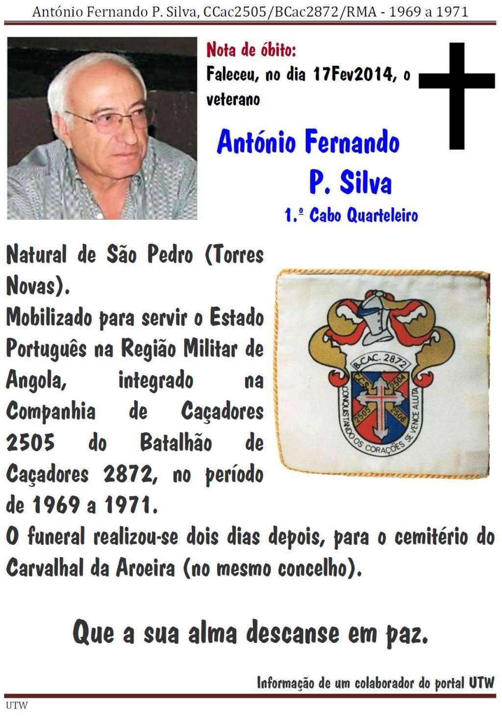 Faleceu o veterano António Fernando P Silva, da CCac2505/BCac2872 - 17Fev2014 Antoni10
