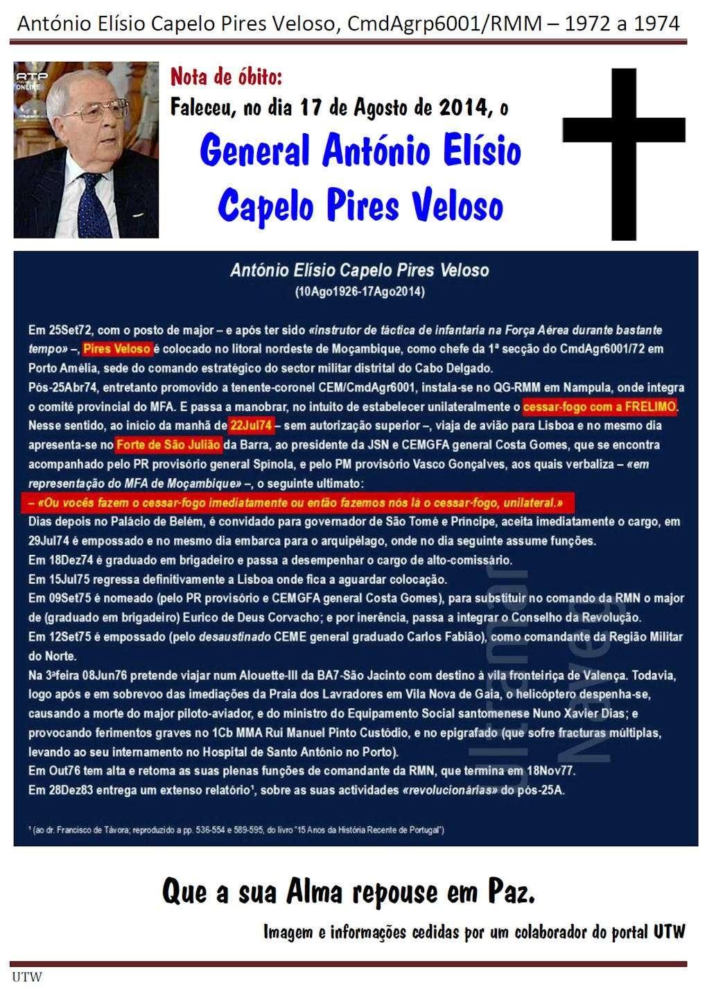 Faleceu o General António Elísio Capelo Pires Veloso - CmdAgrp6001 - 17Ago2014 Antoni11