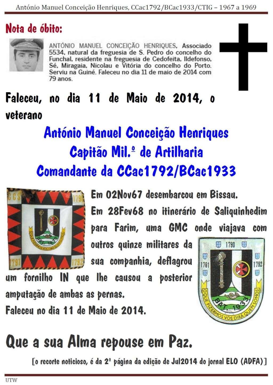 Faleceu o veterano António Manuel Conceição Henriques, da CCac1792/BCac1933 - 11Mai2014 Antoni12
