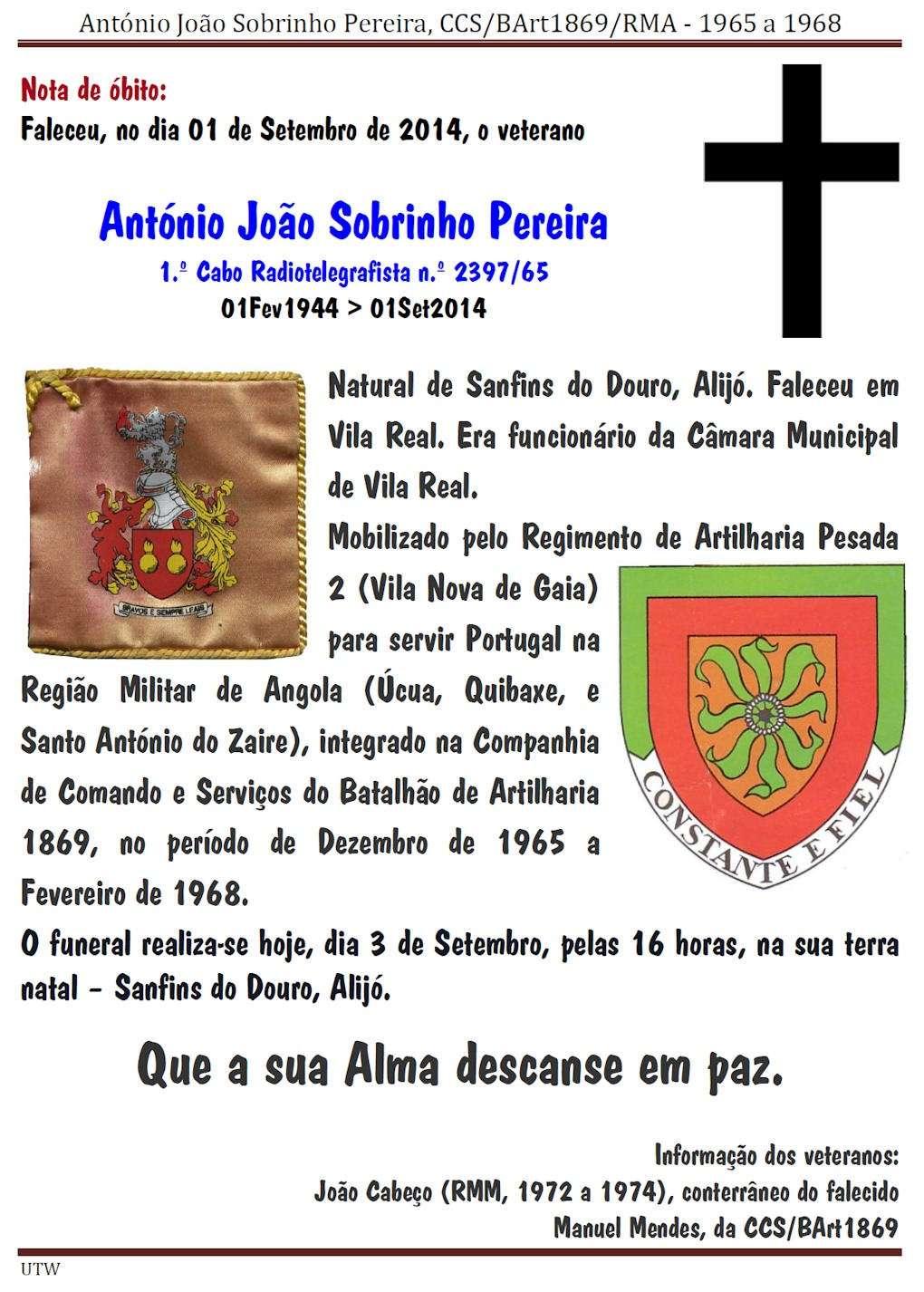 Faleceu o veterano António João Sobrinho Pereira da CCS/BArt1869 - 01Set2014 Antyni10