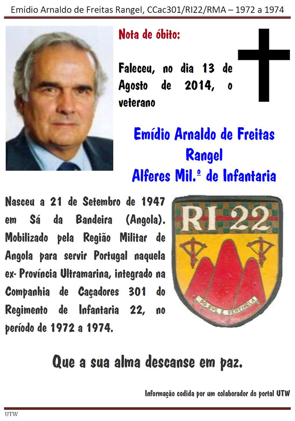 Faleceu o veterano Emídio Arnaldo de Freitas Rangel da CCac301/RI22 - 13Ago2014 Emidio11