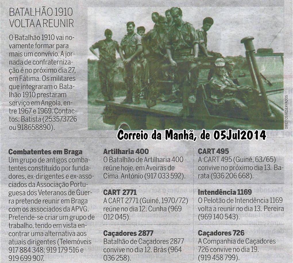 Encontros Convívios de ex-Militares Portugueses, in Correio da Manhã, de 05Jul2014 Encont11
