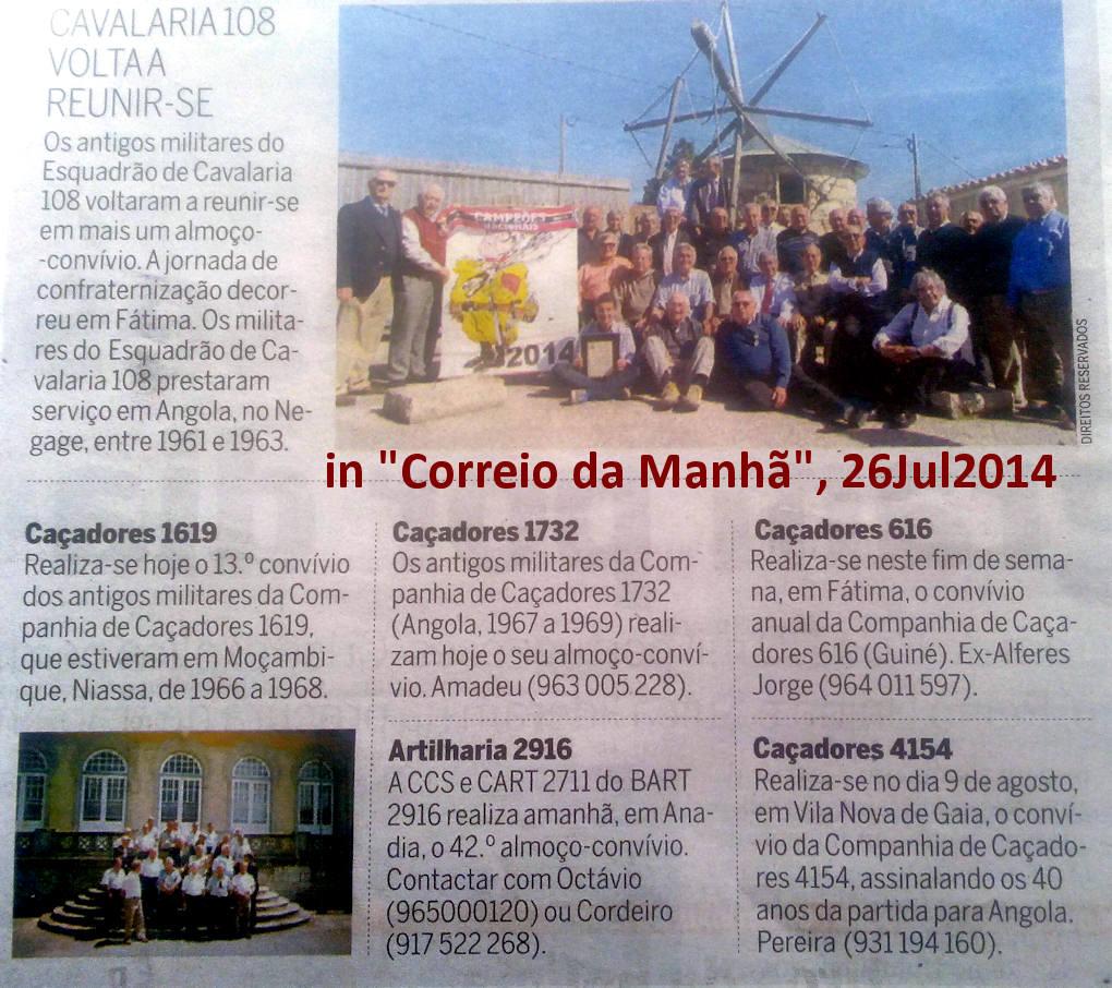 Encontros Convívios de ex-Militares Portugueses, in Correio da Manhã, de 26Jul2014 Encont13