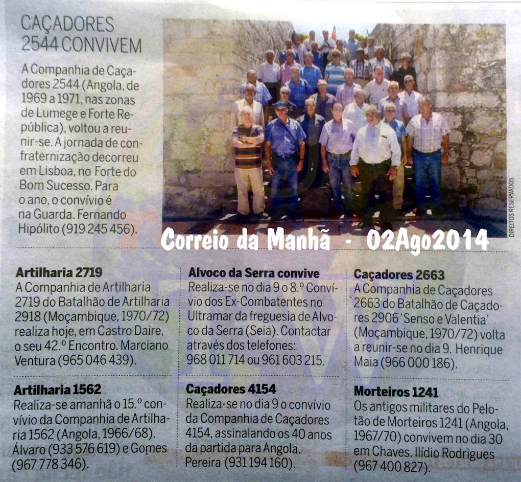 Encontros Convívios de ex-Militares Portugueses, in Correio da Manhã, de 02Ago2014 Encont14