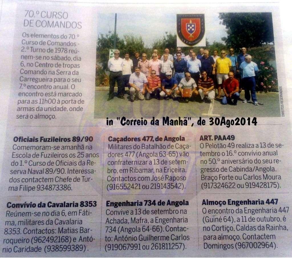 Encontros Convívios de ex-Militares Portugueses, in Correio da Manhã, de 30Ago2014 Encont18