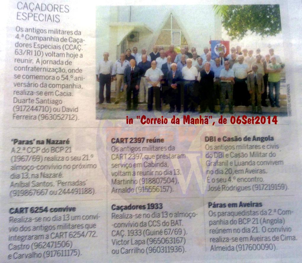 Encontros Convívios de ex-Militares Portugueses, in Correio da Manhã, de 06Set2014 Encont19