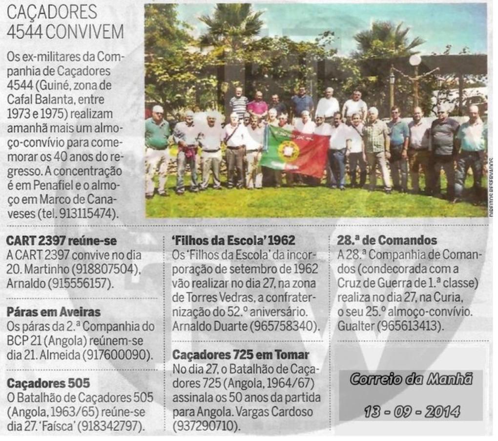 Encontros Convívios de ex-Militares Portugueses, in Correio da Manhã, de 13Set2014 Encont20
