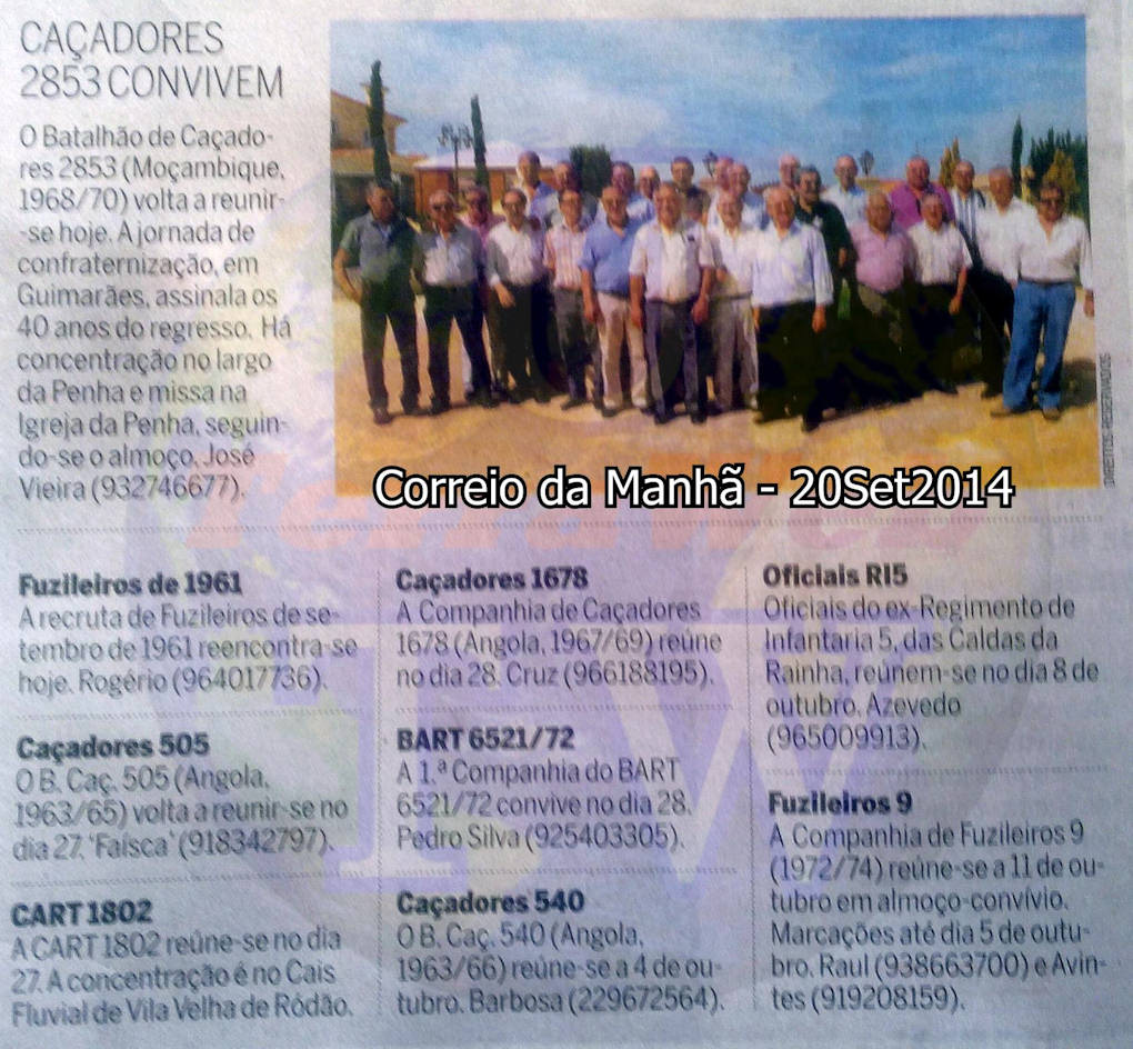 Encontros Convívios de ex-Militares Portugueses, in Correio da Manhã, de 20Set2014 Encont21