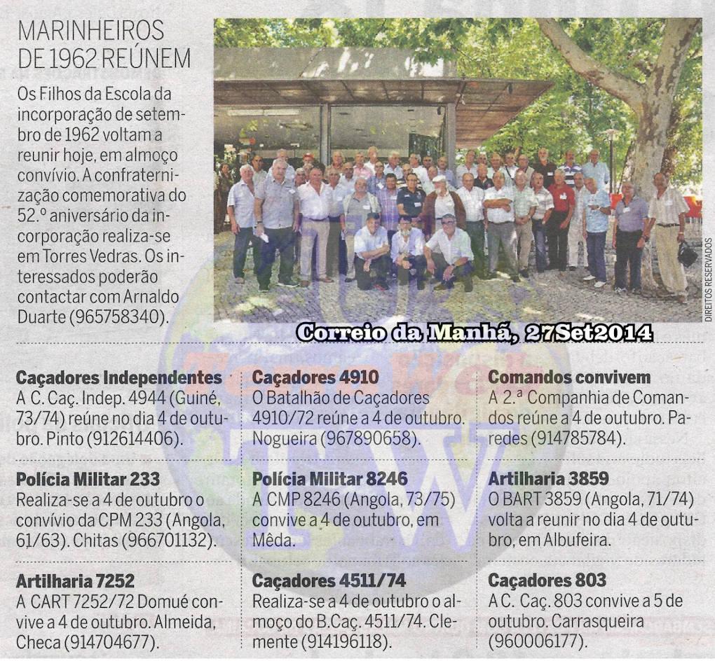 Encontros Convívios de ex-Militares Portugueses, in Correio da Manhã, de 27Set2014 Encont22